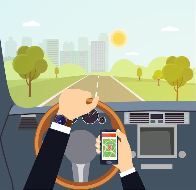 Mãos de homem de um motorista no volante de um carro. ilustração em vetor plana