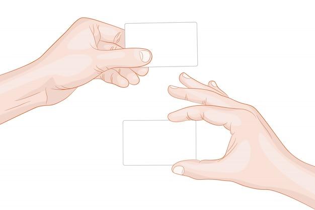 Mãos de homem segurando um cartão em branco