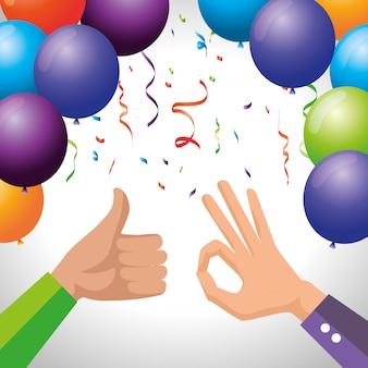 Mãos de homens com balões e confetes de festa