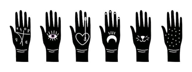 Mãos de magia negra. símbolos mágicos ocultos no braço, conjunto de vetores de silhuetas de mão
