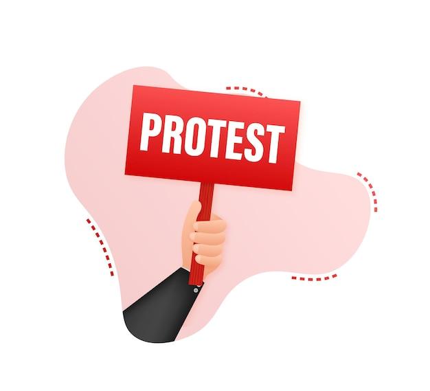 Mãos de manifestantes segurando cartazes de protesto. ilustração em vetor das ações.
