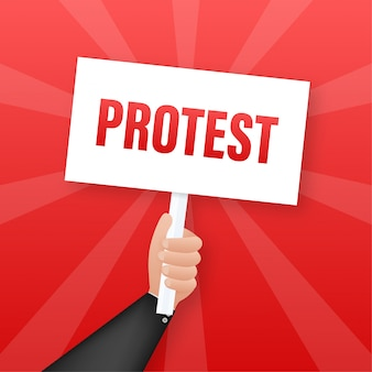 Mãos de manifestantes segurando sinais de protesto. ilustração.