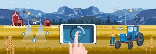 Mãos de mulher controlando o campo de fazenda sem fio do telefone