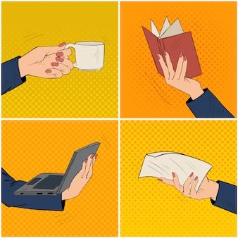 Mãos de mulher de negócios conjunto com xícara de café, livro, laptop e documento em papel