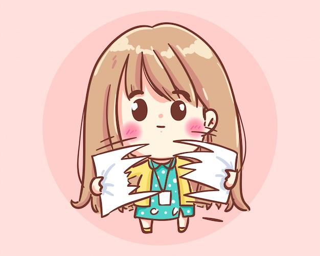 Mãos de mulher de negócios rasga o papel. cartoon art illustration premium vector