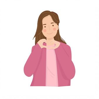 Mãos de mulher fazendo uma ilustração de forma de coração