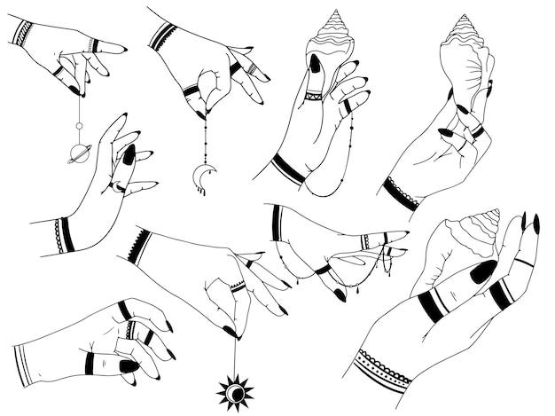 Mãos de mulher, lua, estrelas da geometria sagrada isoladas. o objeto do ocultismo espiritual. ilustração vetorial no estilo de contorno preto. magia mística esotérica.