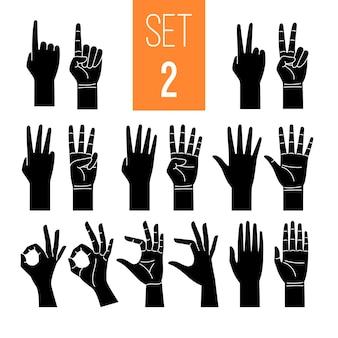 Mãos de mulher mostrando conjunto de ícones de glifo de gesto.
