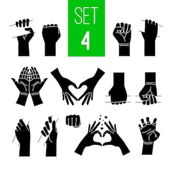 Mãos de mulher mostrando conjunto de ilustrações pretas de gestos.