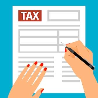 Mãos de mulher, preenchendo o formulário de imposto