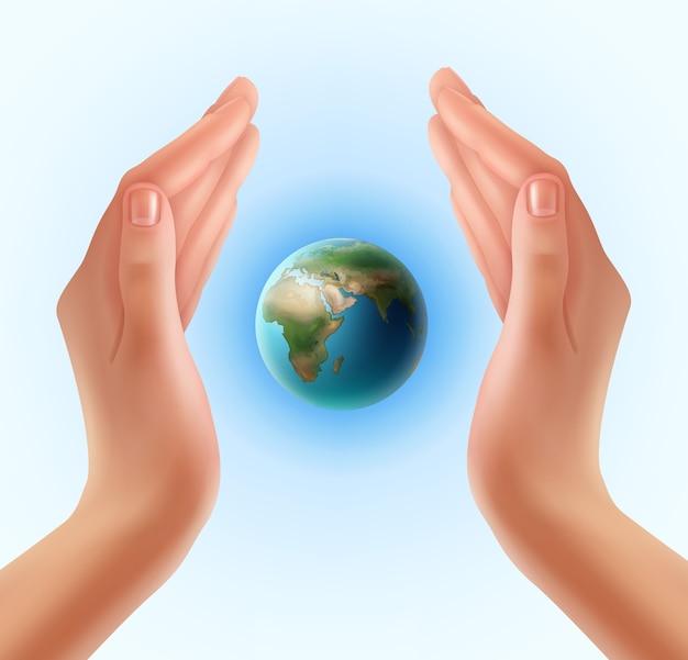 Mãos de mulher protegendo o mundo