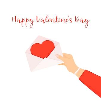 Mãos de mulher segurando uma carta de amor. feliz dia dos namorados.