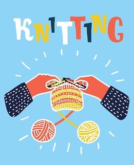 Mãos de mulher tricotando com lã