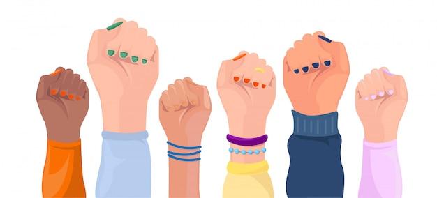 Mãos de mulheres com cor de pele diferente. cartaz de poder menina.