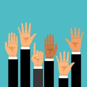 Mãos de negócios levantadas para cima