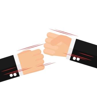 Mãos de negócios no ar batendo juntos