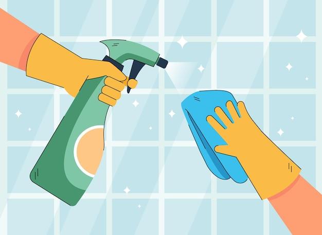 Mãos de personagem em luvas limpando azulejos de cozinha ou banheiro