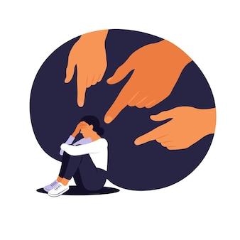 Mãos de pessoas apontam para a garota. mulher não confiante. opinião e pressão da sociedade. vergonha. vector plana