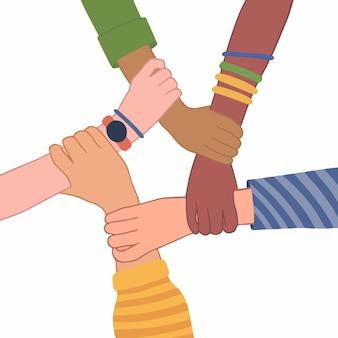 Mãos de pessoas com cores de pele diferentes, abraçadas, ilustração vetorial plana de pulso