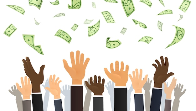 Mãos de pessoas pegando dinheiro do céu