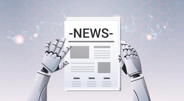 Mãos de robô com jornal