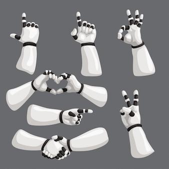 Mãos de robô em fundo cinza