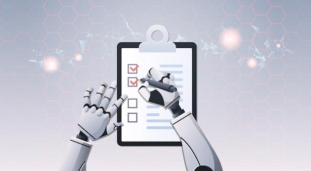 Mãos de robô segurando a lista de verificação
