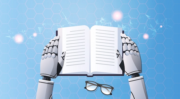Mãos de robô segurando o livro