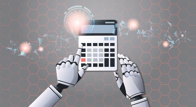 Mãos de robô usando calculadora