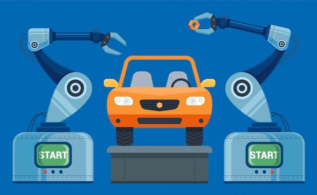Mãos de robôs coletam no carro transportador. ilustração vetorial