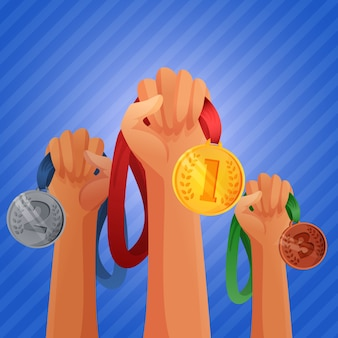Mãos de vencedores segurando medalhas