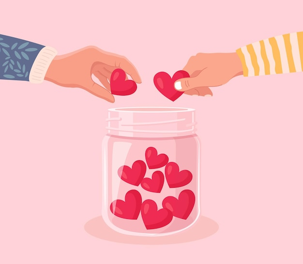 Mãos de voluntários segurando o símbolo do coração e coloque os corações em uma jarra de vidro. dê e compartilhe seu amor, esperança, apoio às pessoas. caridade, doação e comunidade social generosa