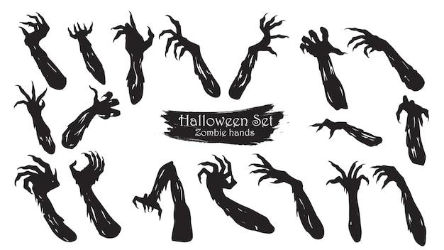 Mãos de zumbi assustador silhueta coleção de halloween