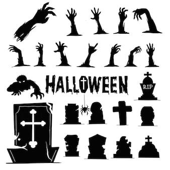 Mãos de zumbi e silhuetas de cemitério. modelo de ilustrações. desenho vetorial