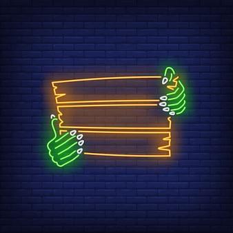 Mãos de zumbi segurando placa de madeira de néon