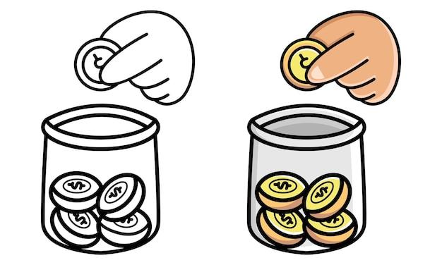 Mãos depositando moedas em um frasco para colorir para crianças