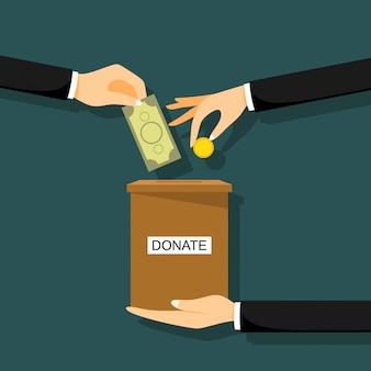 Mãos depositando moedas em uma caixa com banner de texto doar