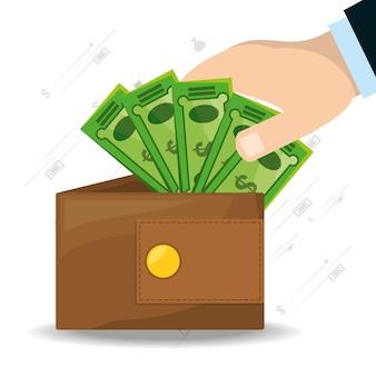 Mãos depositando um monte de contas na carteira