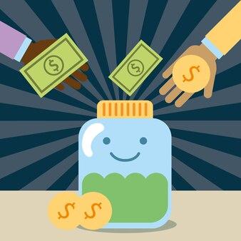 Mãos derramando dinheiro no vidro do frasco kawaii caridade