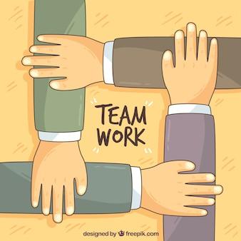 Mãos desenhadas mão trabalhando juntas