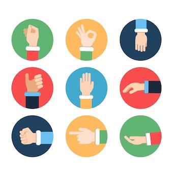 Mãos diferentes em poses de ação. imagens de vetor em quadros coloridos