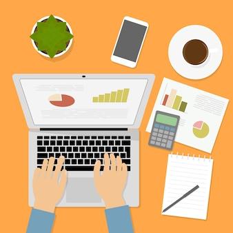 Mãos, digitando, texto, ligado, teclado computador