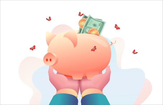 Mãos do ceo segurando o cofrinho com dinheiro