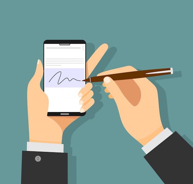 Mãos do homem de negócios que assinam a assinatura digital no smartphone moderno.
