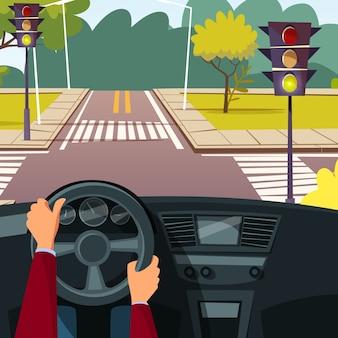 Mãos do homem dos desenhos animados na roda de carro que conduz o veículo no fundo da estrada transversaa da rua.
