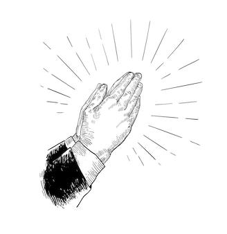 Mãos dobradas em oração desenhadas com linhas de contorno pretas no branco