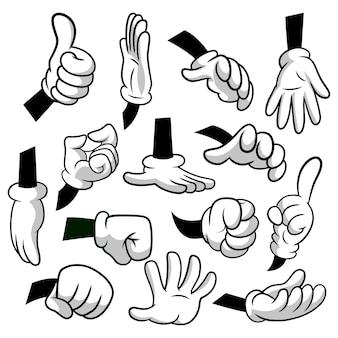 Mãos dos desenhos animados com o conjunto de ícones de luvas isolado no fundo branco. clipart vetorial - partes do corpo, braços em luvas brancas. coleção de gestos de mão. modelos de design, ilustração eps8.
