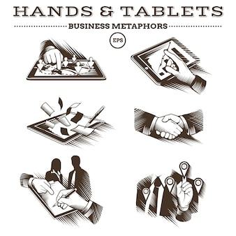 Mãos e comprimidos. vetor gravado