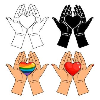 Mãos e coração ícones - linha, colorido, arco-íris e coração vermelho nas mãos isoladas no branco