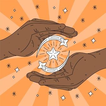 Mãos e estrelas de cura energética